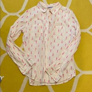 Merona, size M, button up, with pink seahorses